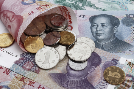 rmb: Chinese money (RMB) notes and coins. Business or holiday concept. Stock Photo