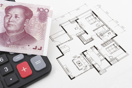 calculator chinese: Real estate concept with Chinese (RMB) on a calculator. Stock Photo