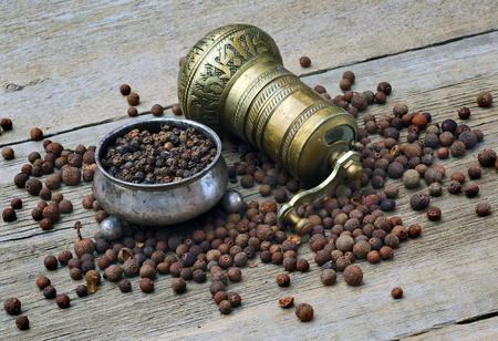 pepperbox: pepper, pepperbox and pepper mill Stock Photo