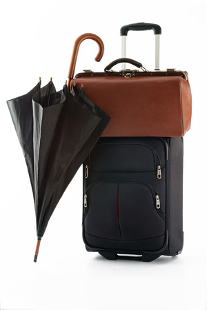 umbrella, bag and suitcase on a white background