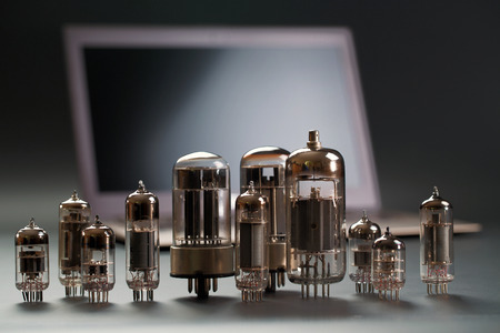 Various radiolamps on a laptop background