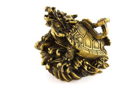 Dragon Turtle statue on white background photo
