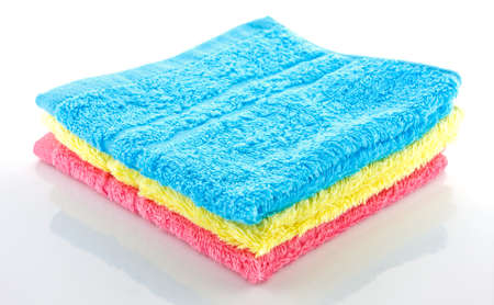 stacked colorful towels on a white background Stock Photo - 11242764