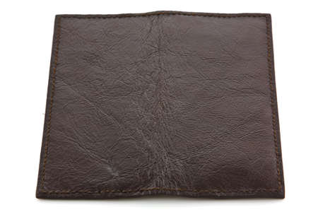 Brown leather wallet isolated photo