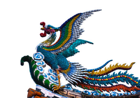 chinese phoenix: Colorful Of Phoenix On Chinese Temple Roof