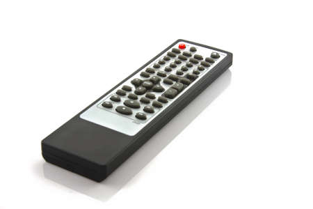 command button: TV remote control isolated on white Stock Photo