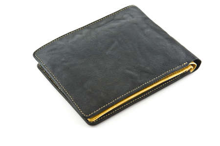 black wallet on white isolated photo