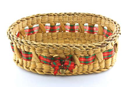 hamper: Bamboo basket isolated on white background