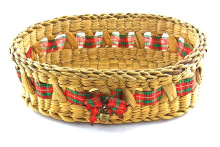 Bamboo basket isolated on white background photo