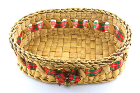 Bamboo basket isolated on white background photo