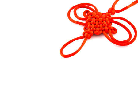 Red rope with knot isolated photo