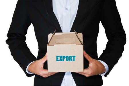 mailmen: Business man carry box Stock Photo