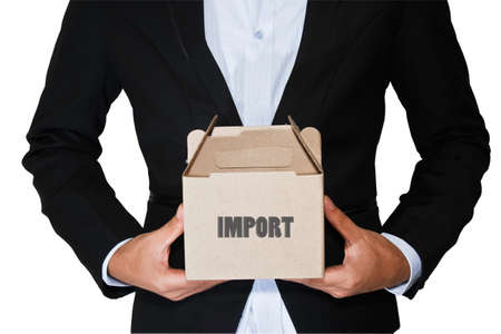 Business man carry box Stock Photo