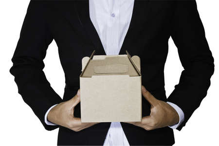 Business man carry box Standard-Bild