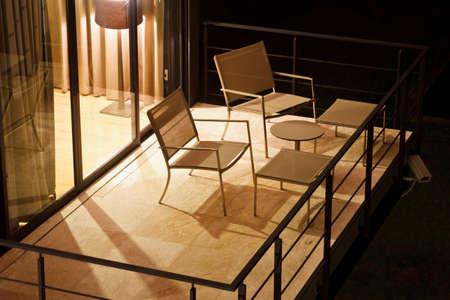 table on an open terrace