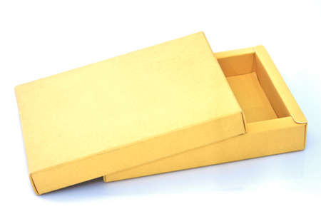 Elevated view of open empty gift box isolated photo