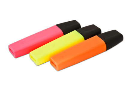 Colored highlighters on a white background  photo