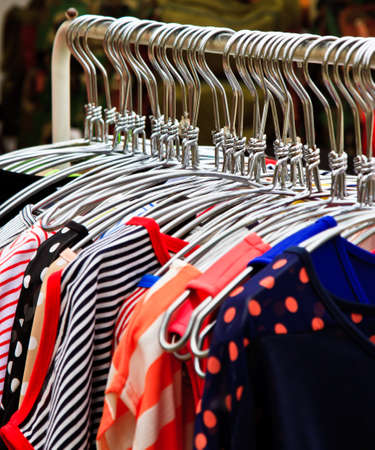 Colors of rainbow  Variety of casual skirts on hangers photo