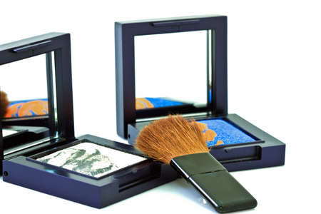 brush and cosmetics, on a white background isolated photo