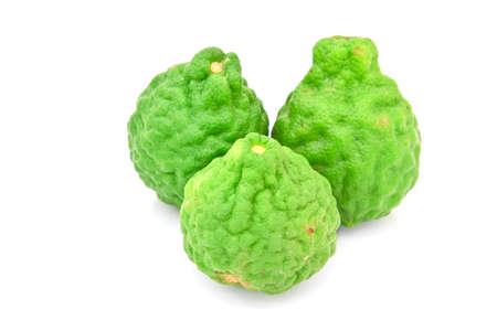 Kaffir Lime fruits isolated on white  photo