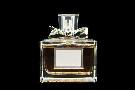 beautiful bottle of perfume on a isolated background with path