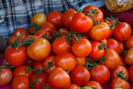 tomato vegetable in outdoor market Stock Photo