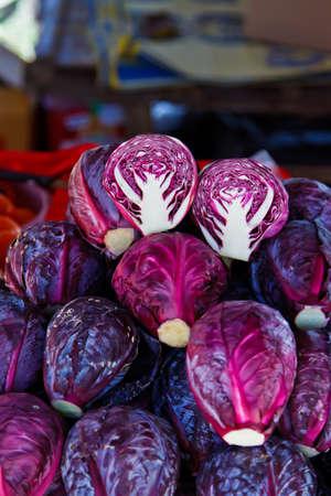 Radicchio heads in an outdoor market