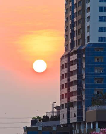 buildings of bangkok,Thailand at sunset