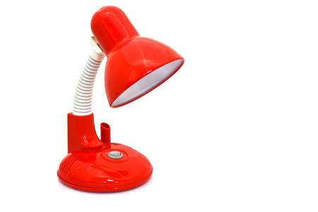 red table lamp isolated on white background photo