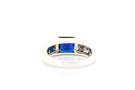 ring of the jeweler with blue sapphire on a white background Stock Photo