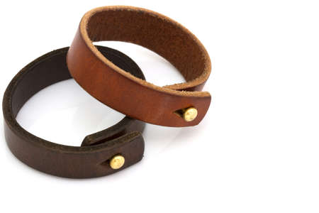 leather belt: Leather bracelet on white background Stock Photo