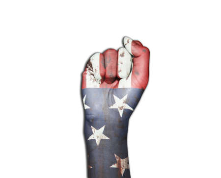 aggressor: picture of a fist painted in colors of american flag