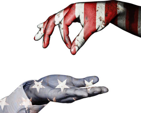 beg: Hand finger for beg with give on usa flag background