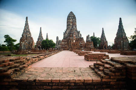 temple thailand: Old Temple wat Chaiwatthanaram of Ayutthaya Province Asia Thailand
