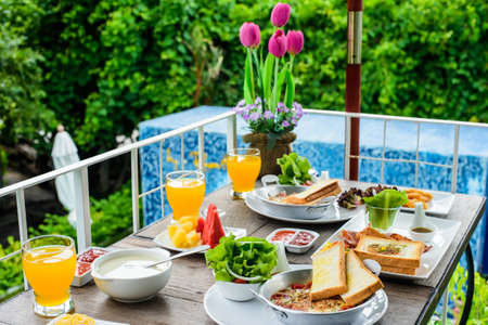 American break fast outdoor with nature background Stock Photo
