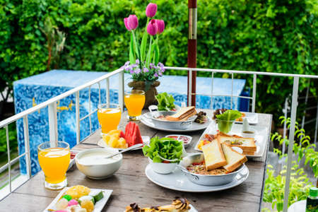 break fast: American break fast outdoor with nature background Stock Photo