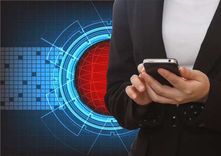 futuristic woman: Close up of a woman using mobile with abstract technology futuristic blue innovation with red ball network background Stock Photo