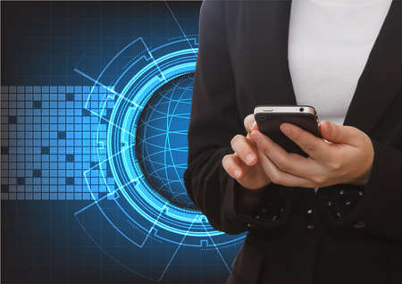 futuristic woman: Close up of a woman using mobile with abstract technology futuristic blue innovation background