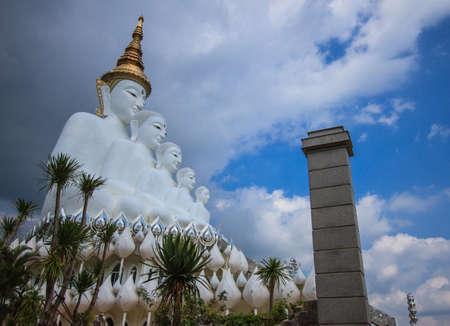 Five White buddha status on blue sky background