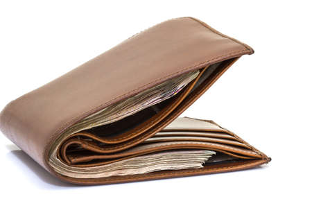 billfold: Brown leather wallet isolated white background
