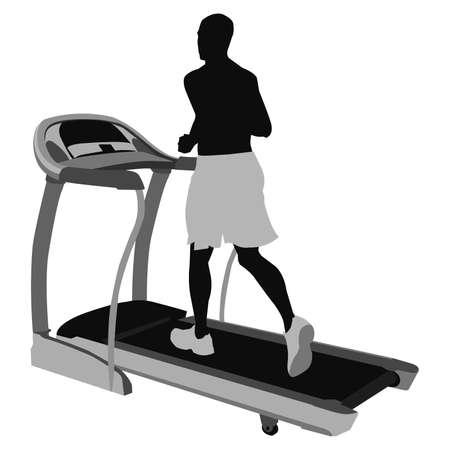 young man on treadmill Stock Illustratie