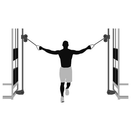 pectoral: young man training to cables
