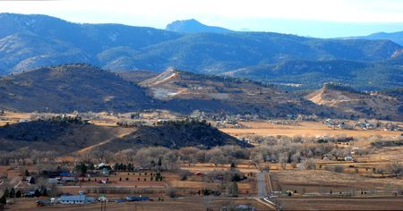 loveland: Quarries and rural settlements outside of Loveland, Colorado, in the foothills of the Rocky Mountains Stock Photo