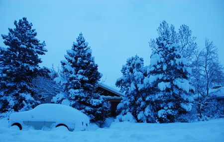 blanketed: Early morning snow scene in a residential area, with a covered car Stock Photo
