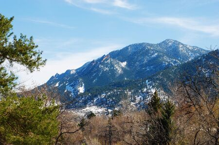 treetops: Flatirons mountain towers above garden treetops in Boulder, Colorado