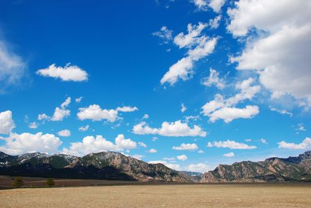 front range: View from the prairie of mountains in the Front Range of the Colorado Rockies. Stock Photo