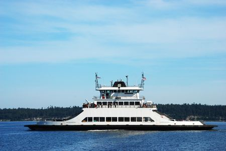 puget: Small ferry boat in waters of Puget Sound, Washington