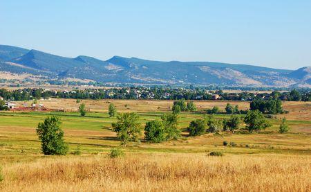encroach: Rural suburb in Colorado at the edge where the Rocky Mountains meet the prairie Stock Photo