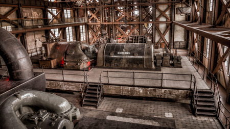 produce energy: Istanbul, Turkey, March 2, 2013: Santral istanbul, electric generator  power plant museum in Istanbul. These are the first equipment used to produce energy for Istanbul in Ottoman era.