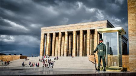 ataturk: Ankara, Turkey - October 25, 2012: Guardsman of Ataturk Mausoleum, Anitkabir, monumental tomb of Mustafa Kemal Ataturk, greatest leader,first president of Turkey in Ankara, Turkey